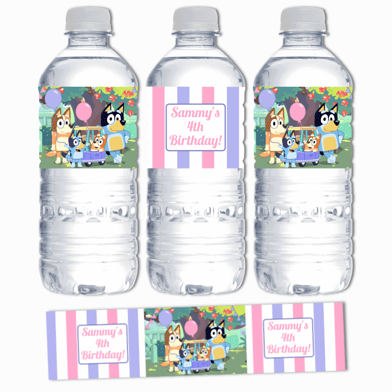 Personalised Girls Bluey Birthday Party Water  Labels