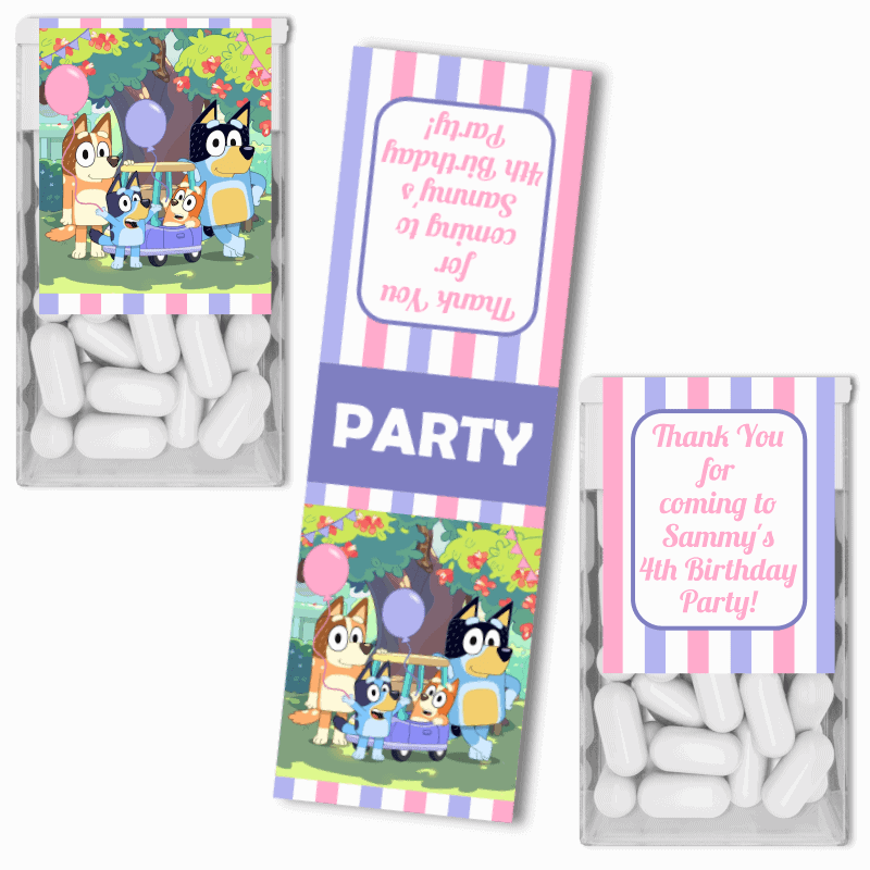 Personalised Girls Bluey Birthday Party Tic Tac Labels