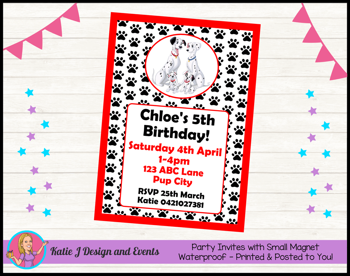 Personalised 101 Dalmatians Birthday Party Invites