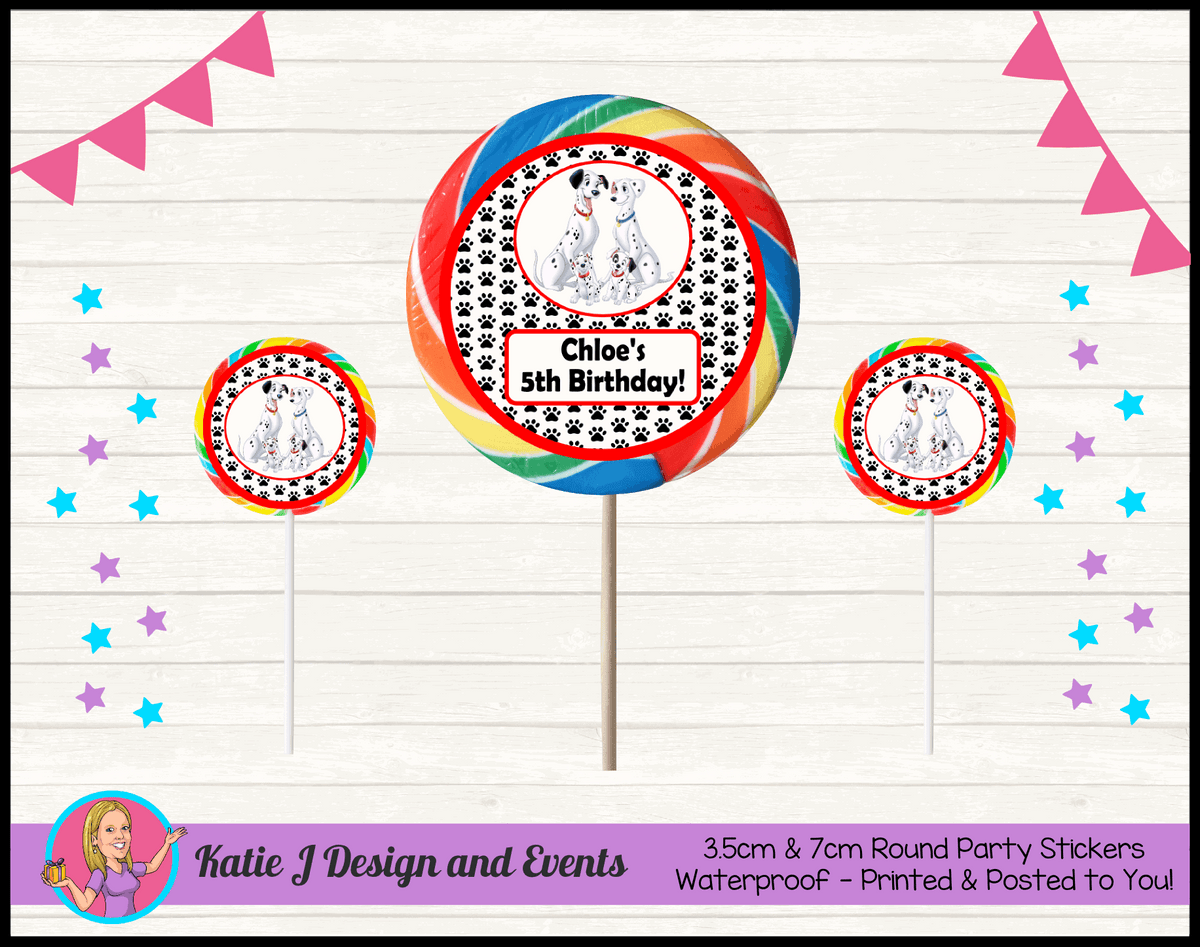 Personalised 101 Dalmatians Birthday Party Round Lollipop Stickers