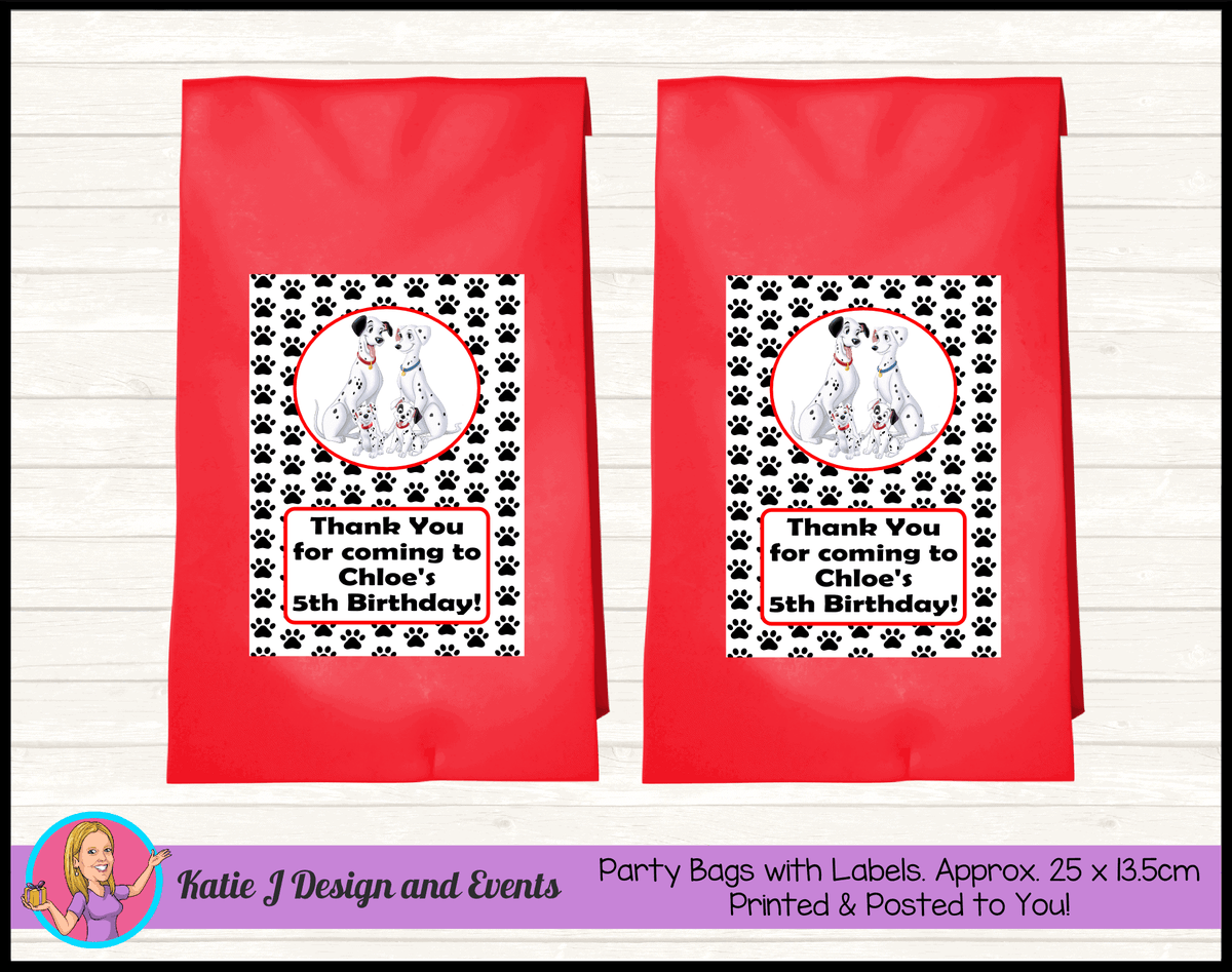 Personalised 101 Dalmatians Birthday Party Loot Bags