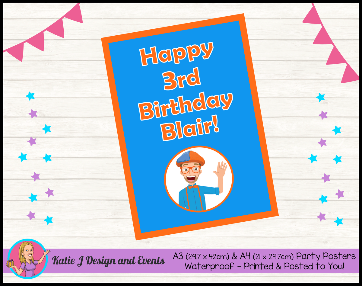 Blippi Personalised Birthday Party Posters