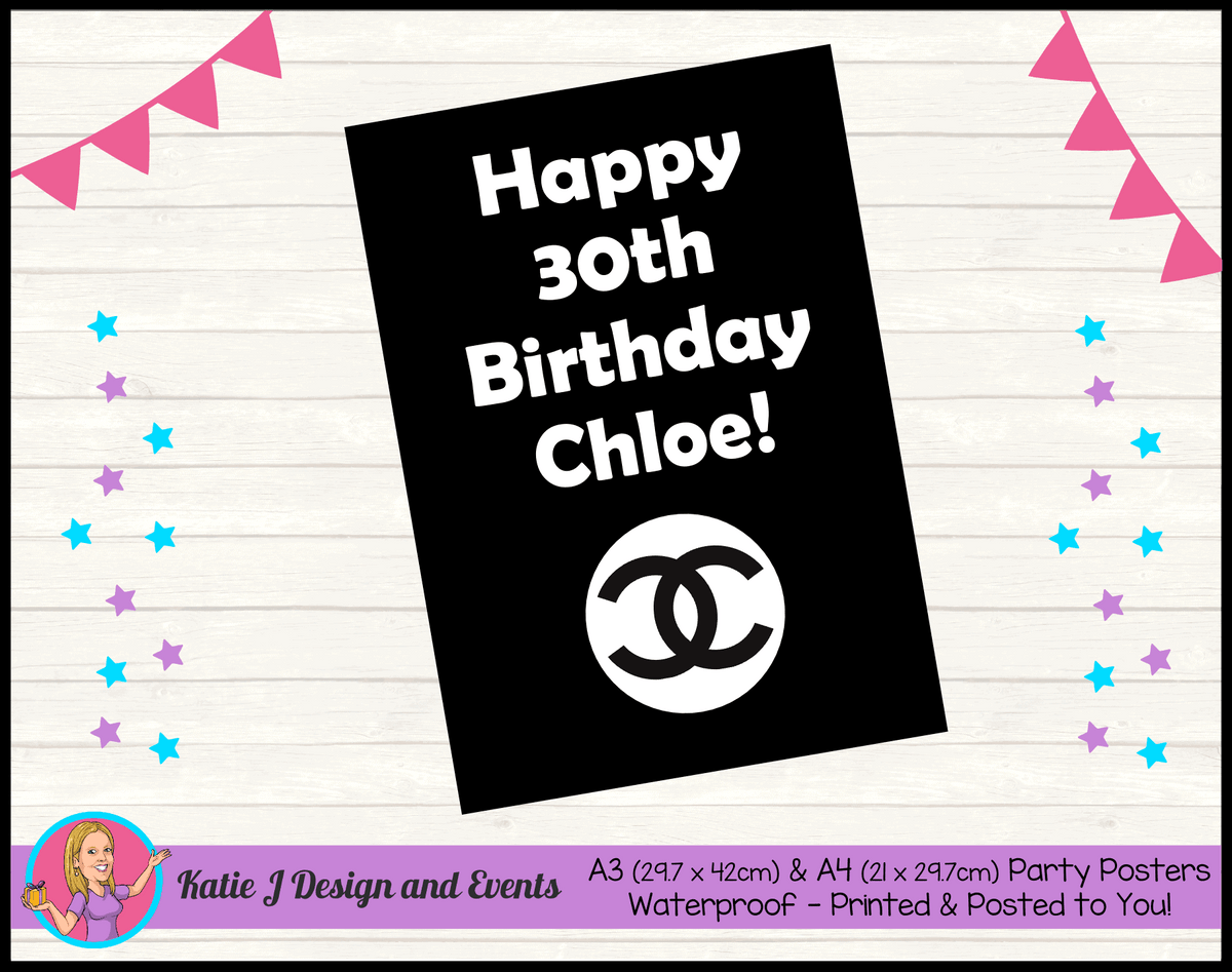 Personalised Coco Chanel Birthday Party Posters