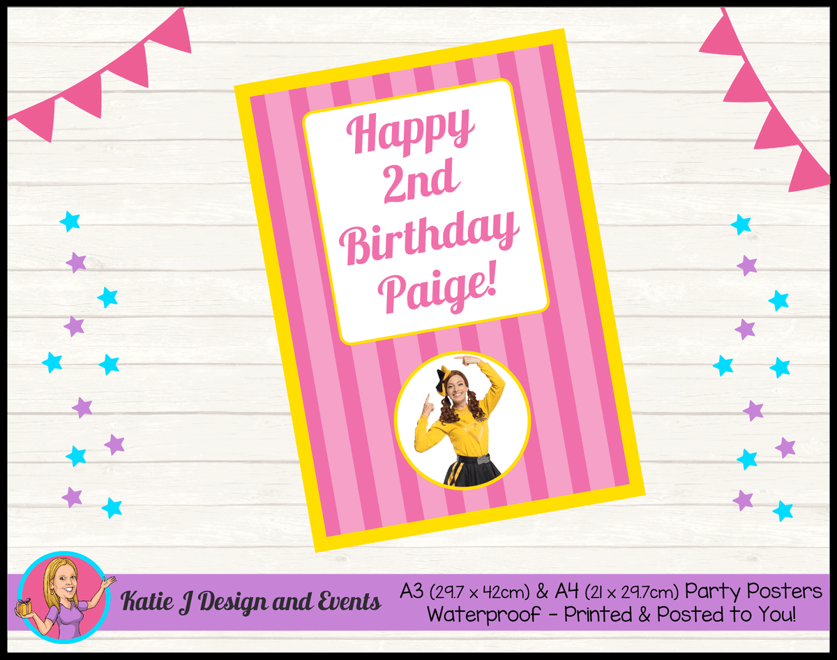 Personalised Pink Stripe Emma Wiggle Birthday Party Poster