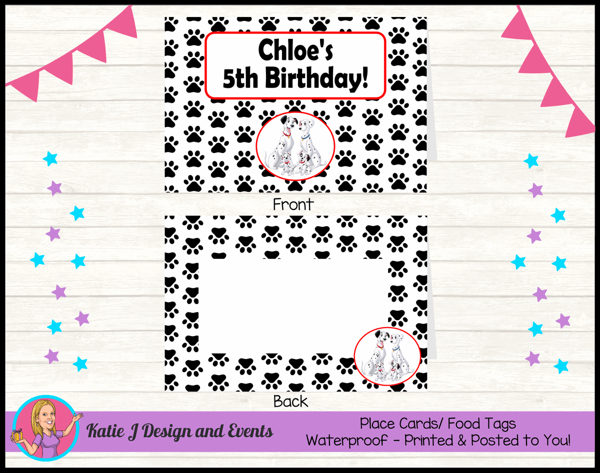 Personalised 101 Dalmatians Birthday Party Place Cards
