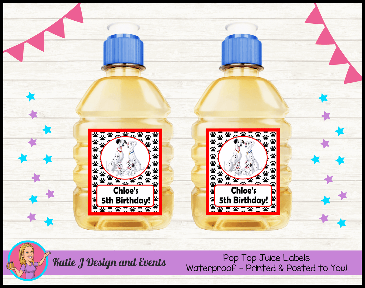 Personalised 101 Dalmatians Birthday Party Pop Top Juice Labels