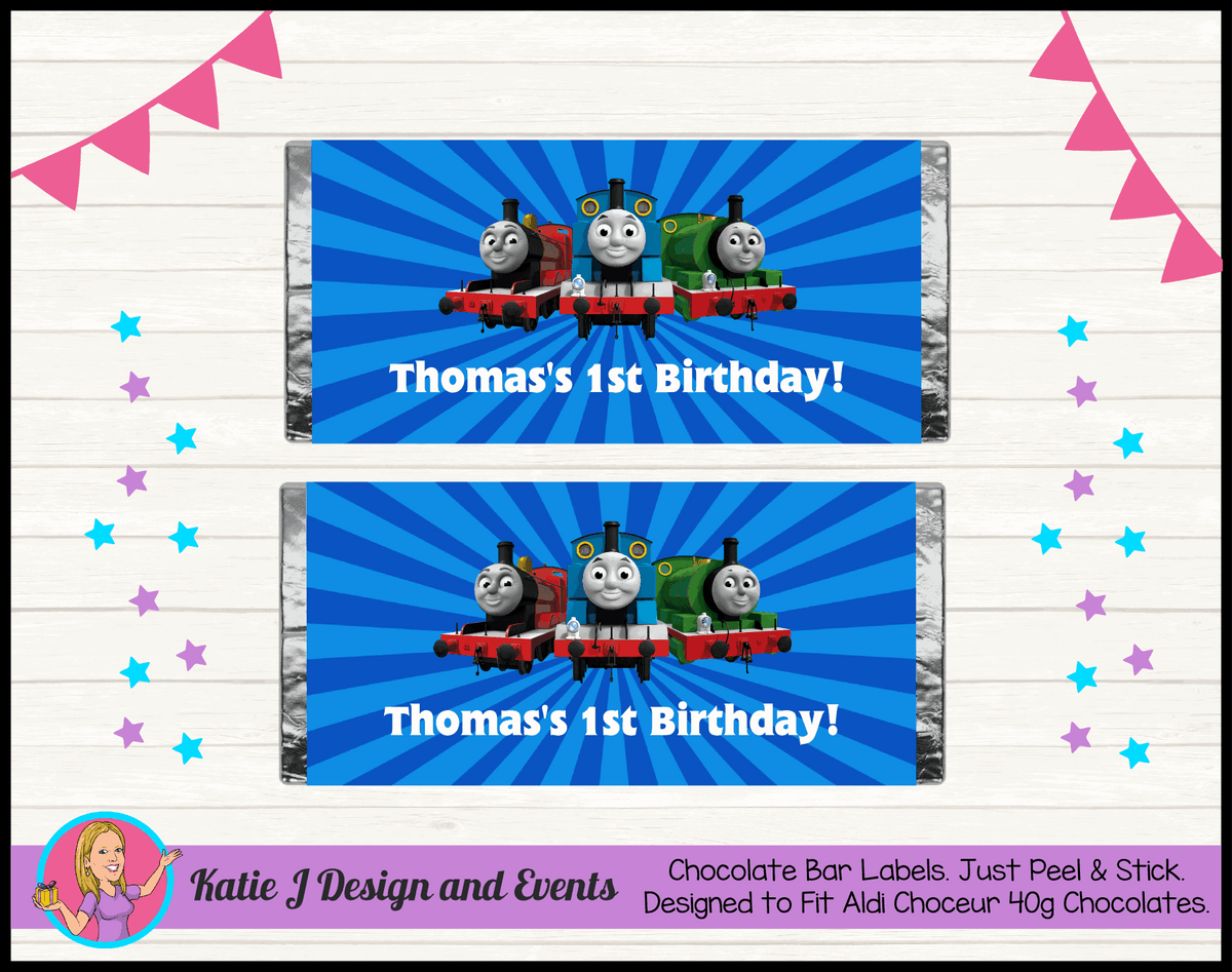 Personalised Thomas & Friends Birthday Party Chocolate Wrappers