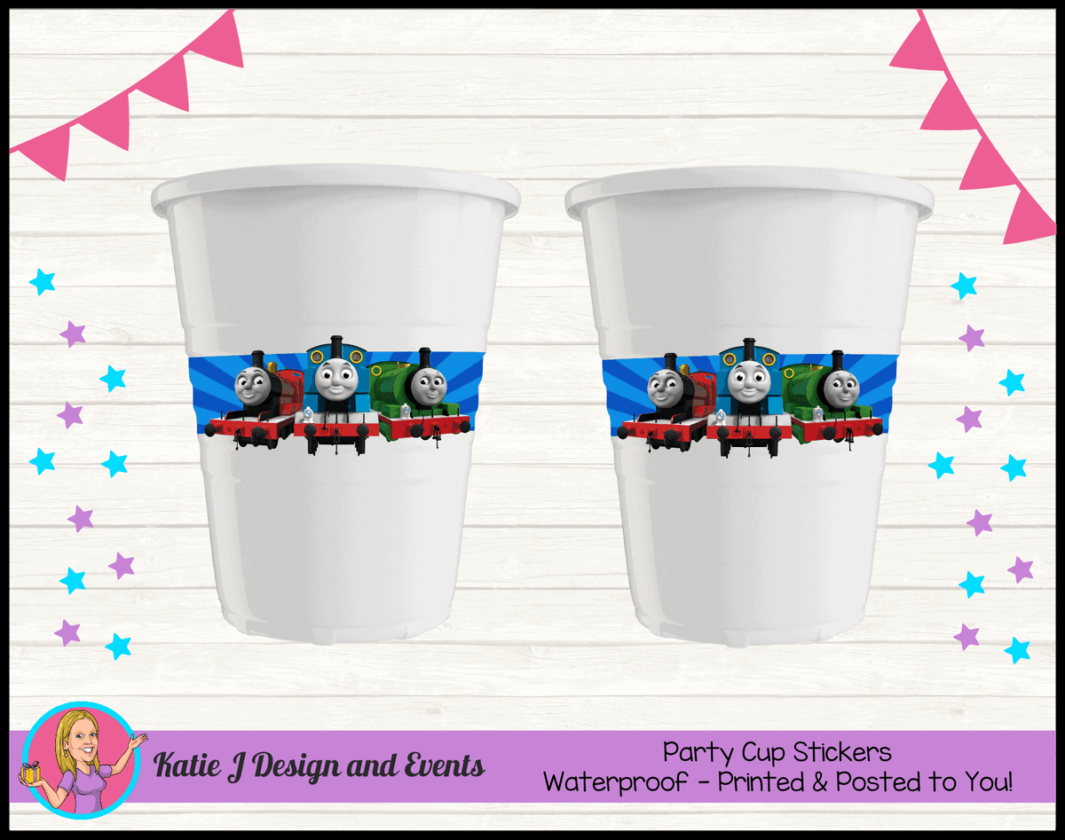 Personalised Thomas & Friends Birthday Party Cup Stickers