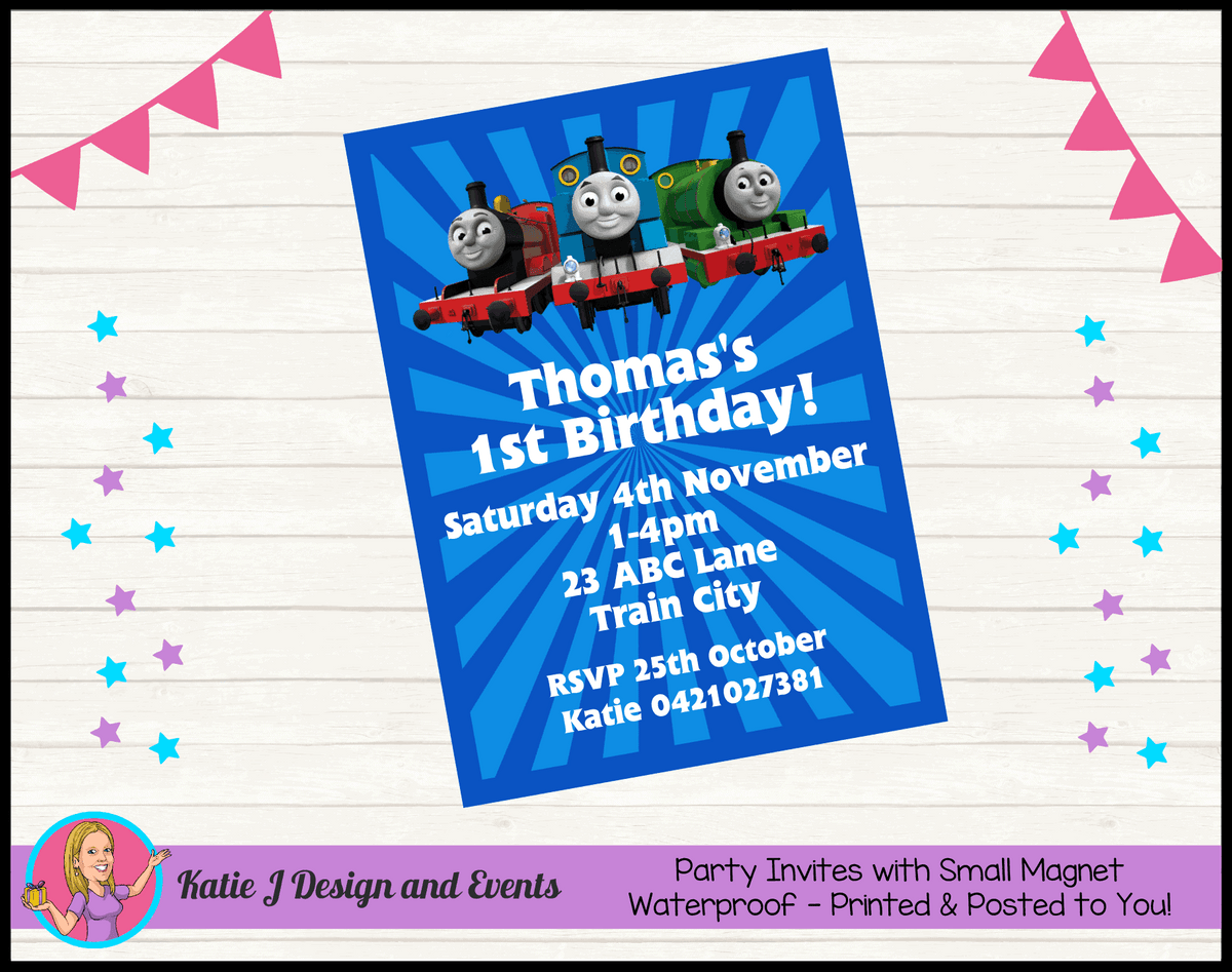 Personalised Thomas & Friends Birthday Party Invites
