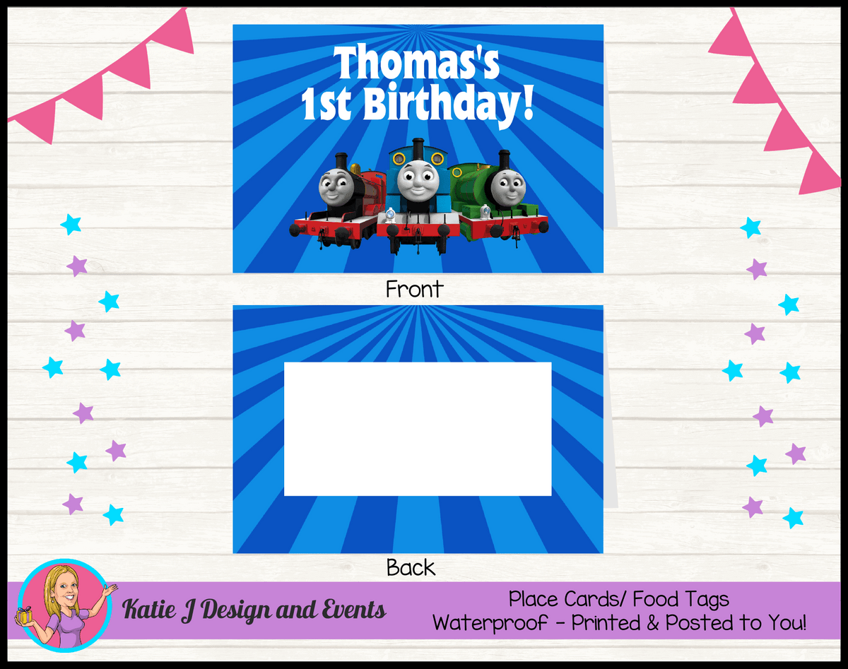 Personalised Thomas & Friends Birthday Party Place Cards