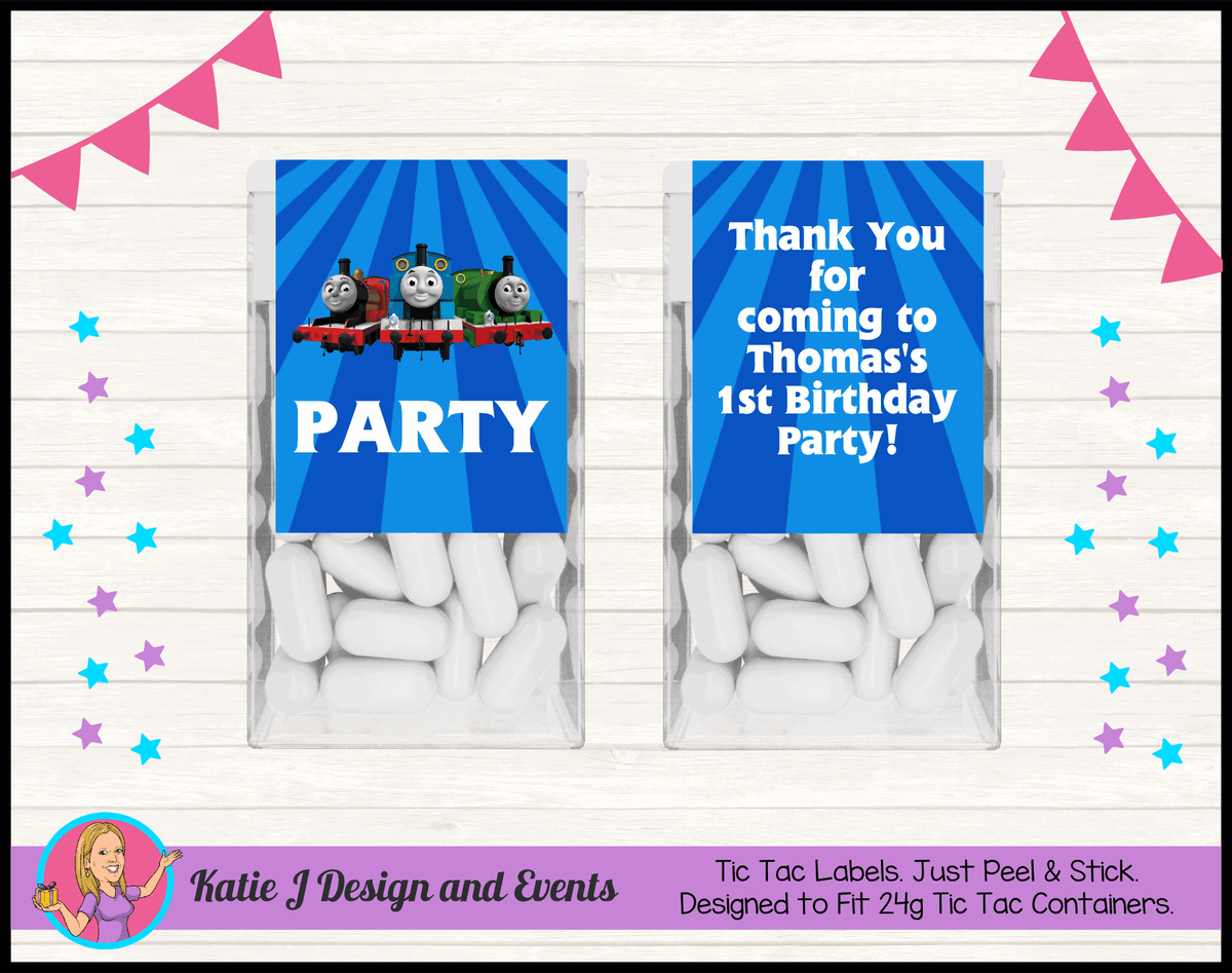Personalised Thomas & Friends Birthday Party Tic Tac labels
