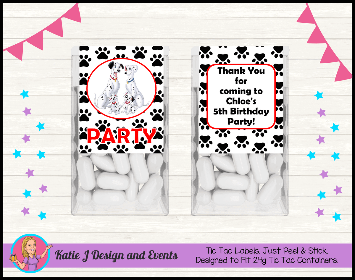 Personalised 101 Dalmatians Birthday Party Tic Tac Mint Labels
