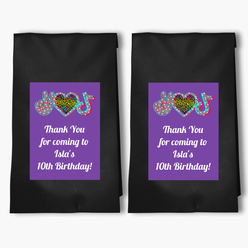 Personalised Tik Tok Birthday Party Bags & Labels