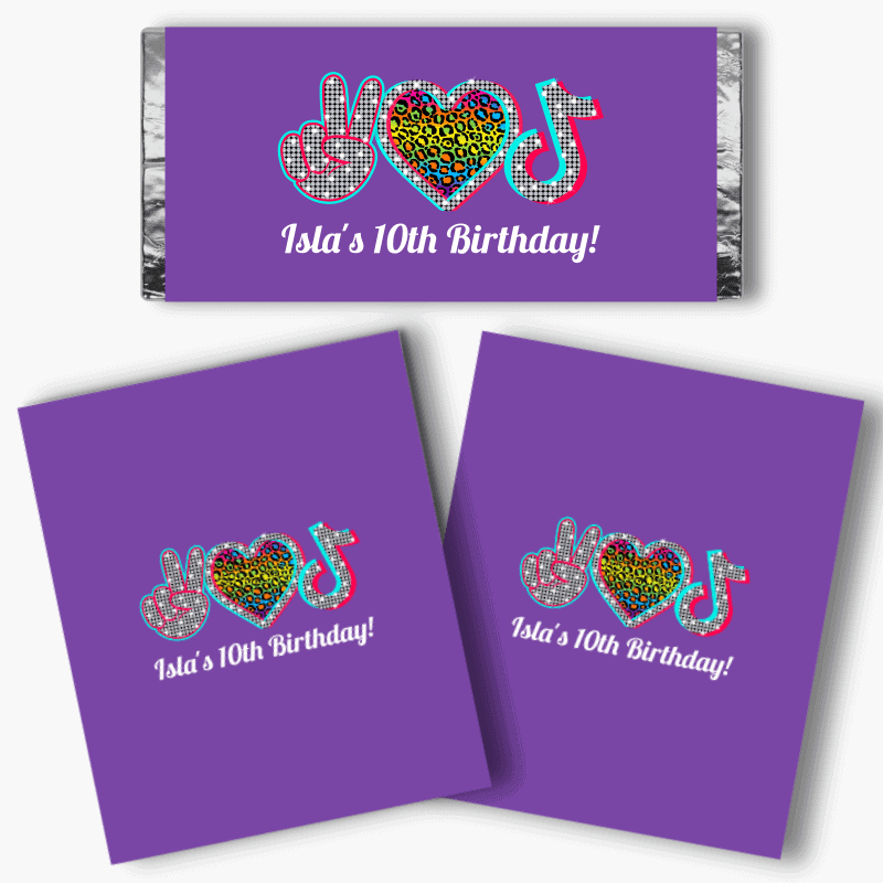 Personalised Tik Tok Birthday Party Mini Chocolate Labels