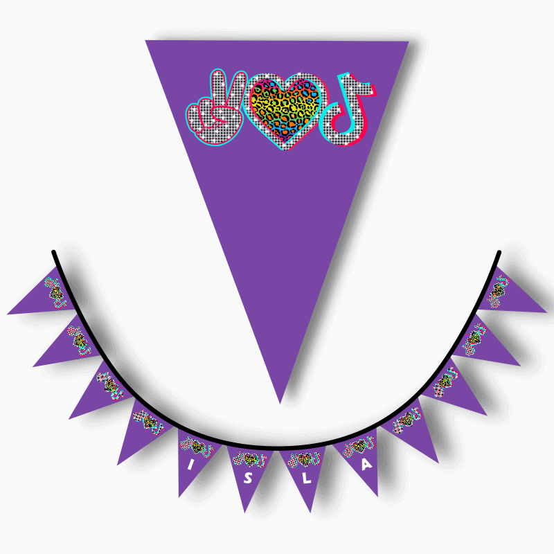 Personalised Tik Tok Birthday Party Flag Bunting