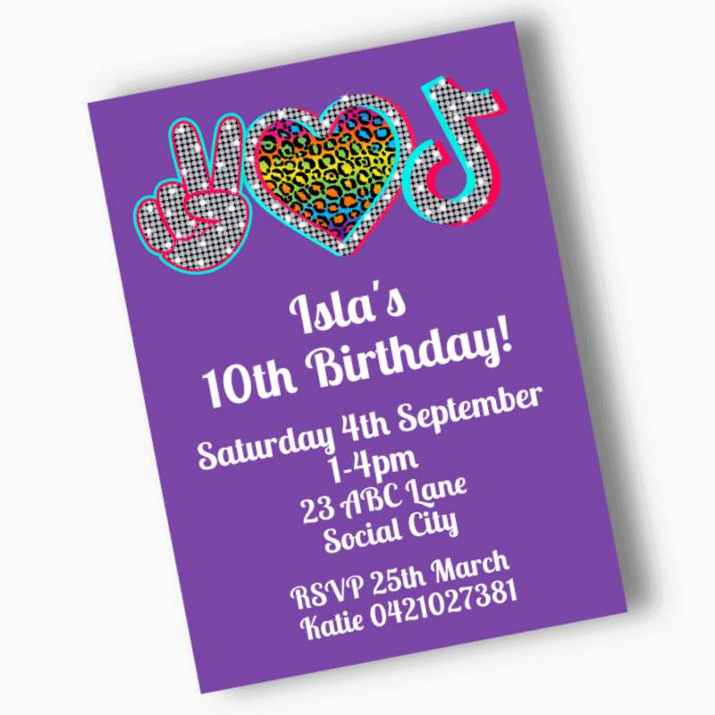 Personalised Tik Tok Birthday Party Invites