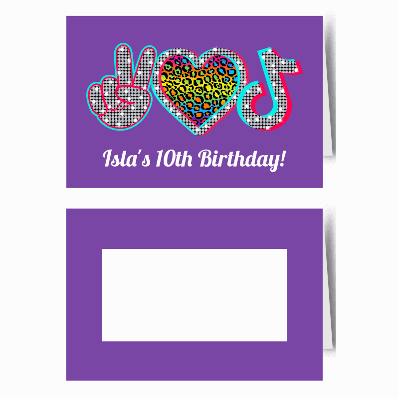 Personalised Tik Tok Birthday Party Place Cards