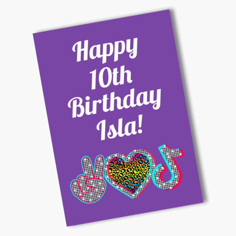 Personalised Tik Tok Birthday Party Poster & Flag Bunting Combo
