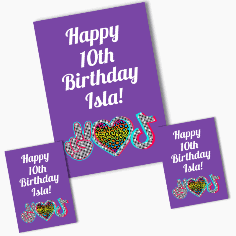 Personalised Tik Tok Birthday Party Posters