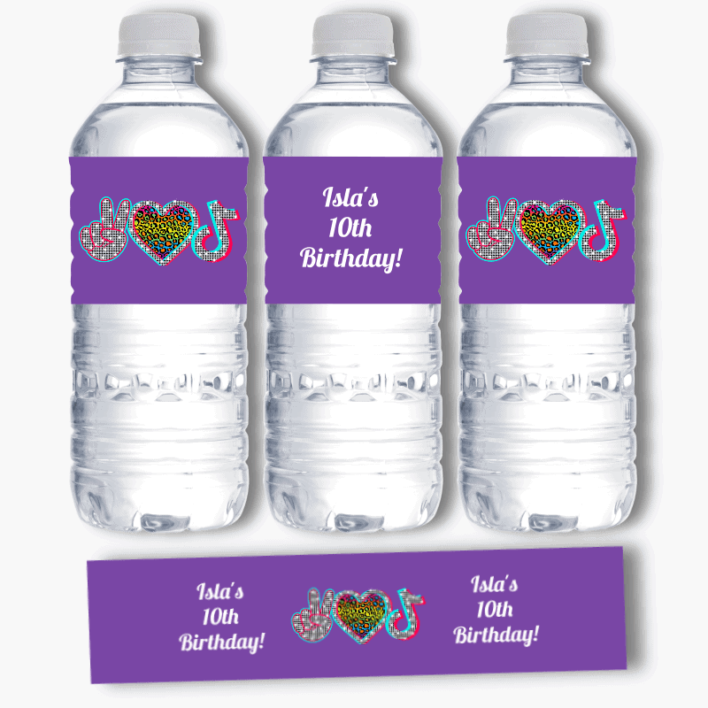 Personalised Tik Tok Birthday Party Water Bottle Labels