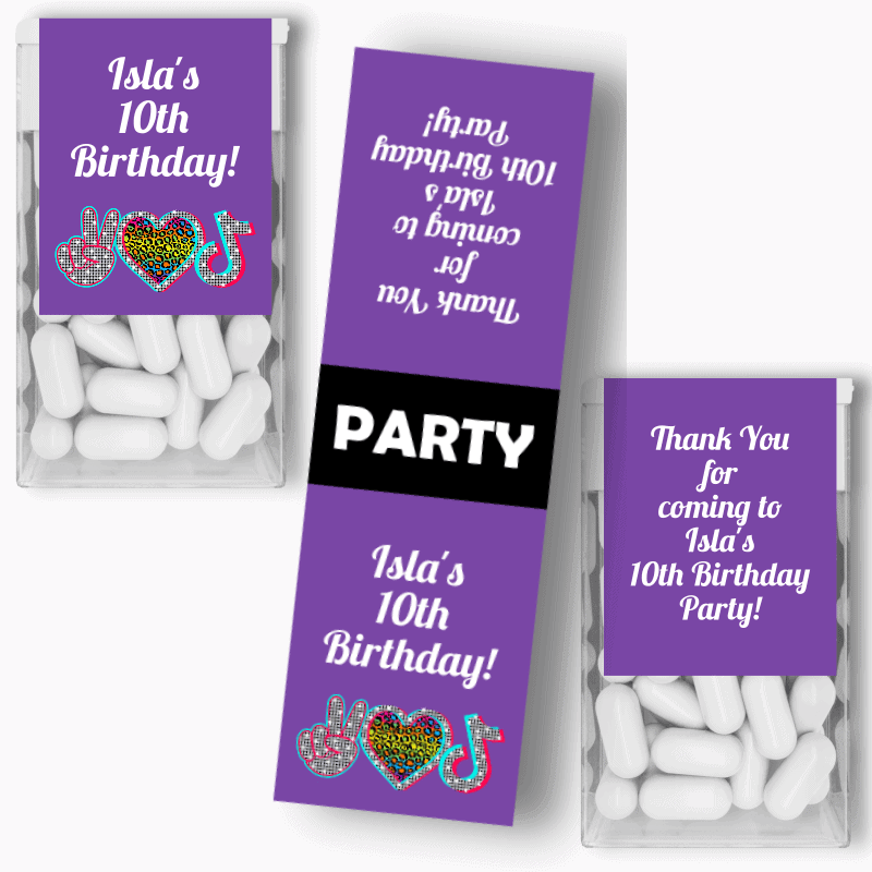Personalised Tik Tok Birthday Party Tic Tac Labels