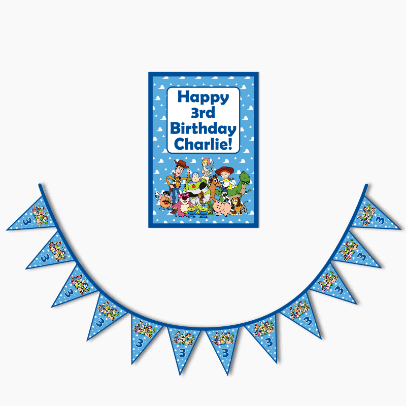 Personalised Toy Story Birthday Party Poster & Bunting