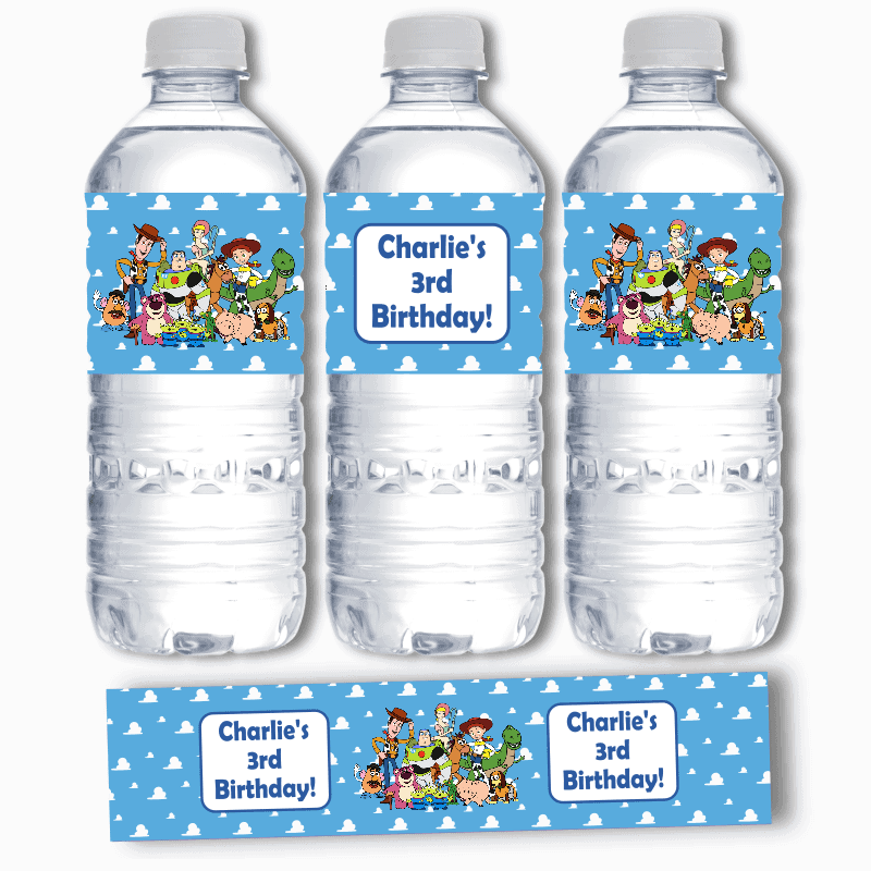 Personalised Toy Story Birthday Party Water Bottle Labels