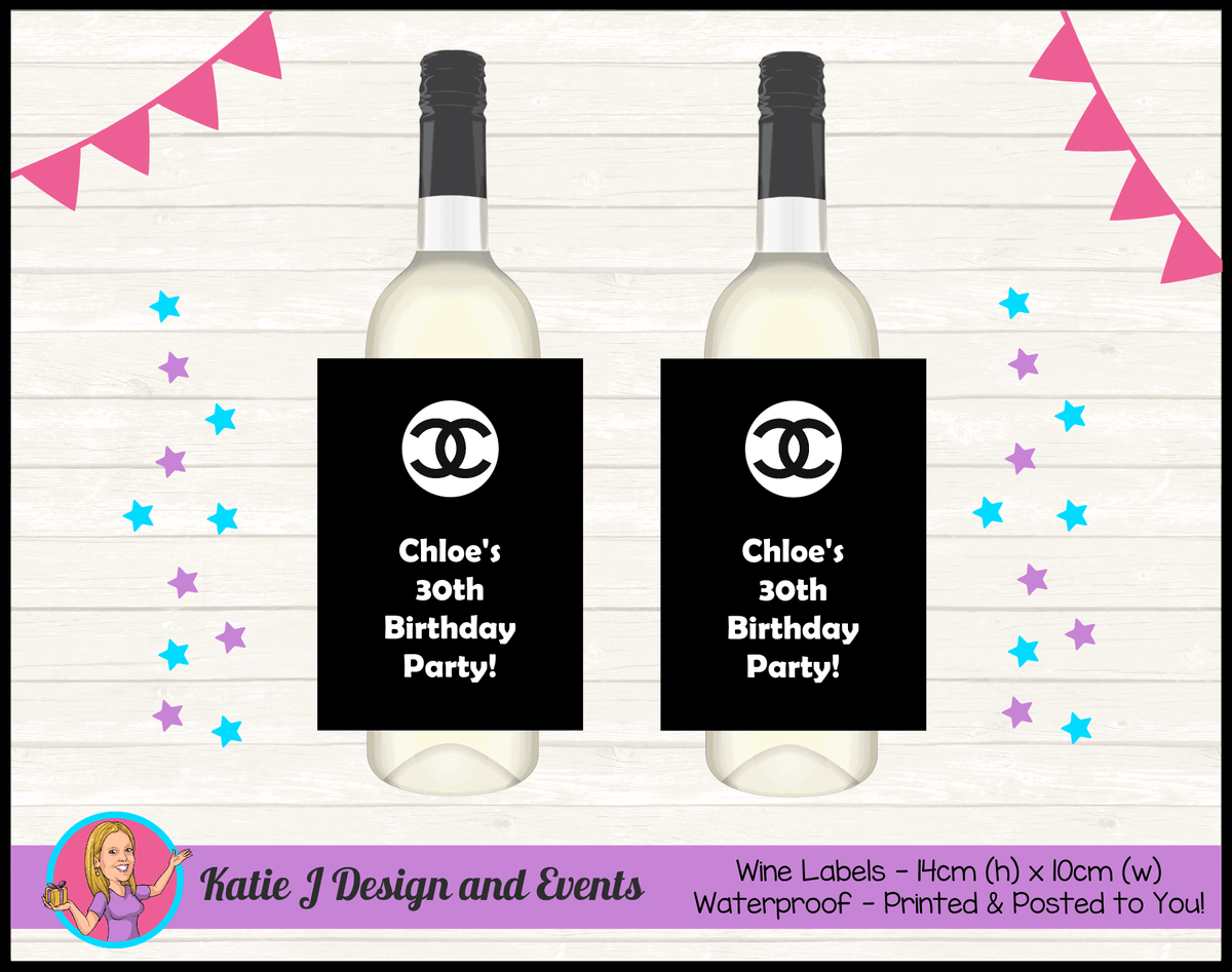 Personalised Coco Chanel Birthday Party Wine Bottle Labels