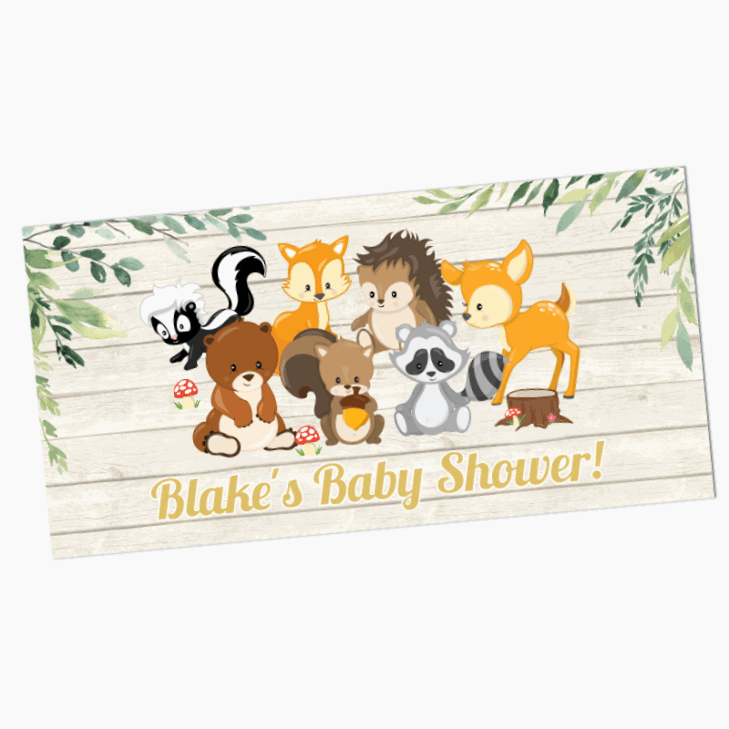 Personalised Woodland Animals Birthday Party Banners