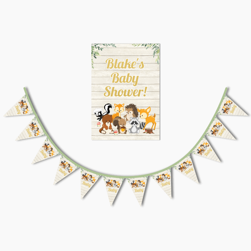 Personalised Woodland Animals Birthday Party Poster & Bunting Combo