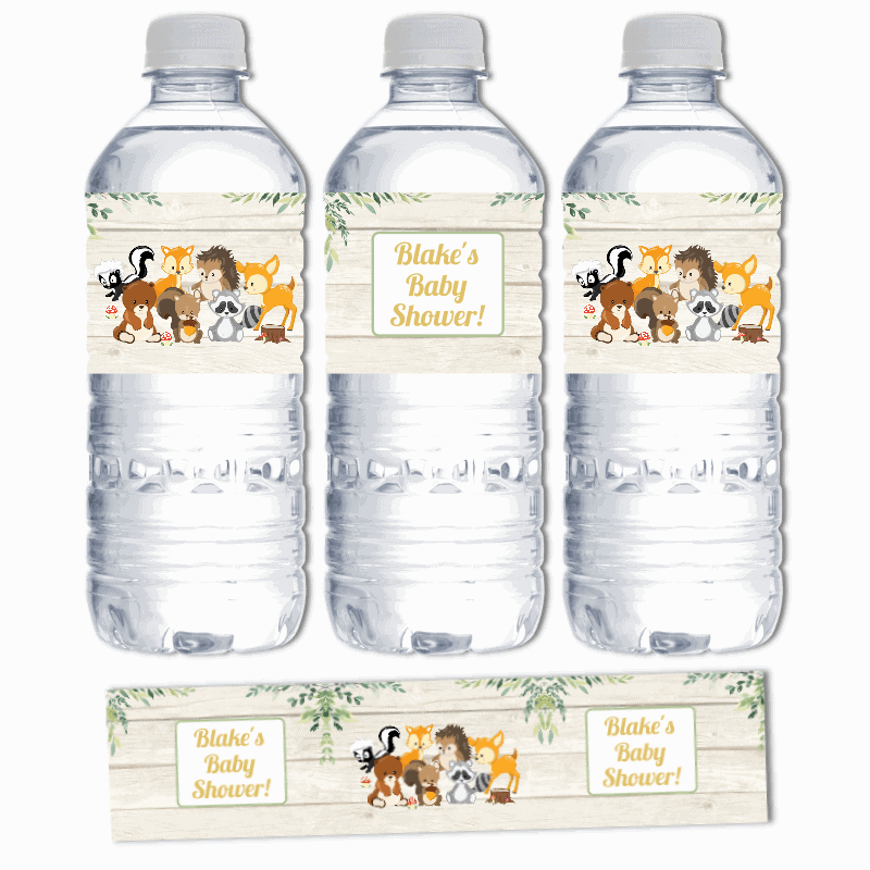 Personalised Woodland Animals Birthday Party Water Bottle Labels