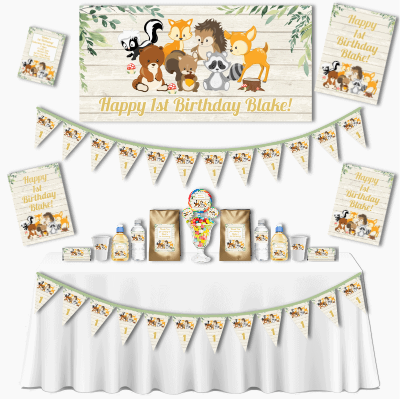 Personalised Woodland Animals Grand Birthday Party Pack
