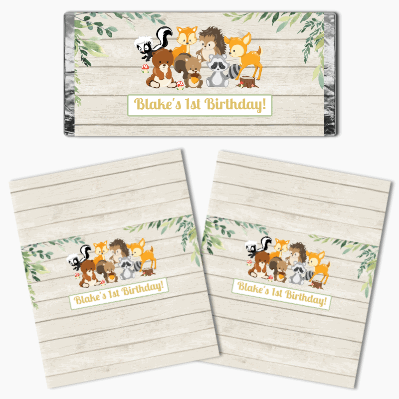 Personalised Woodland Animals Birthday Party Mini Chocolate Labels