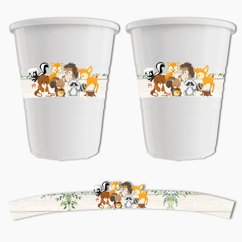 Woodland Animals Birthday Party Cup Stickers