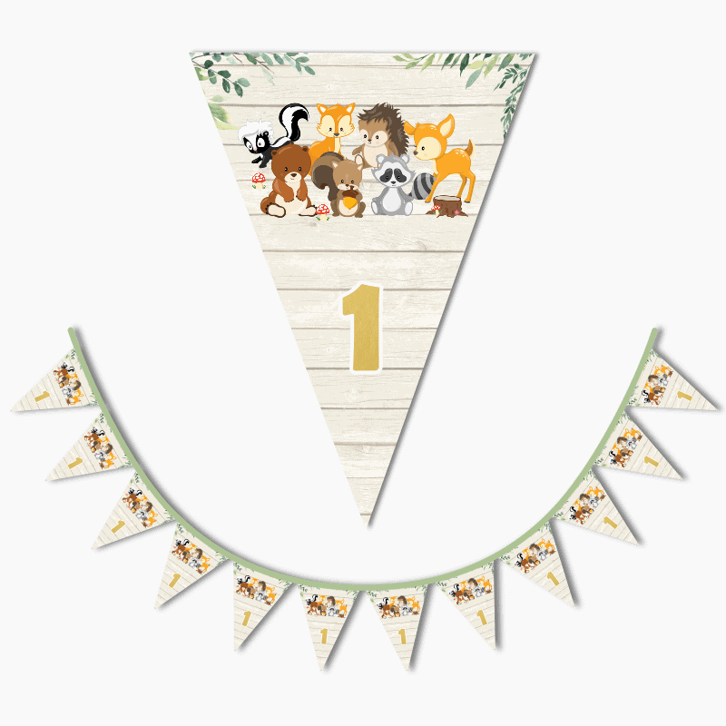 Personalised Woodland Animals Party Flag Bunting