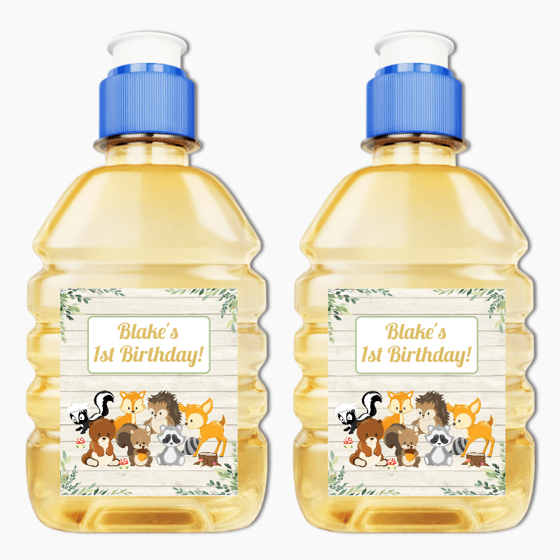 Personalised Woodland Animals Party Pop Top Labels