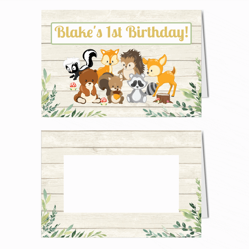 Personalised Woodland Animals Birthday Party Place Cards