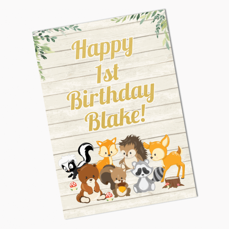 Personalised Woodland Animals Party Posters