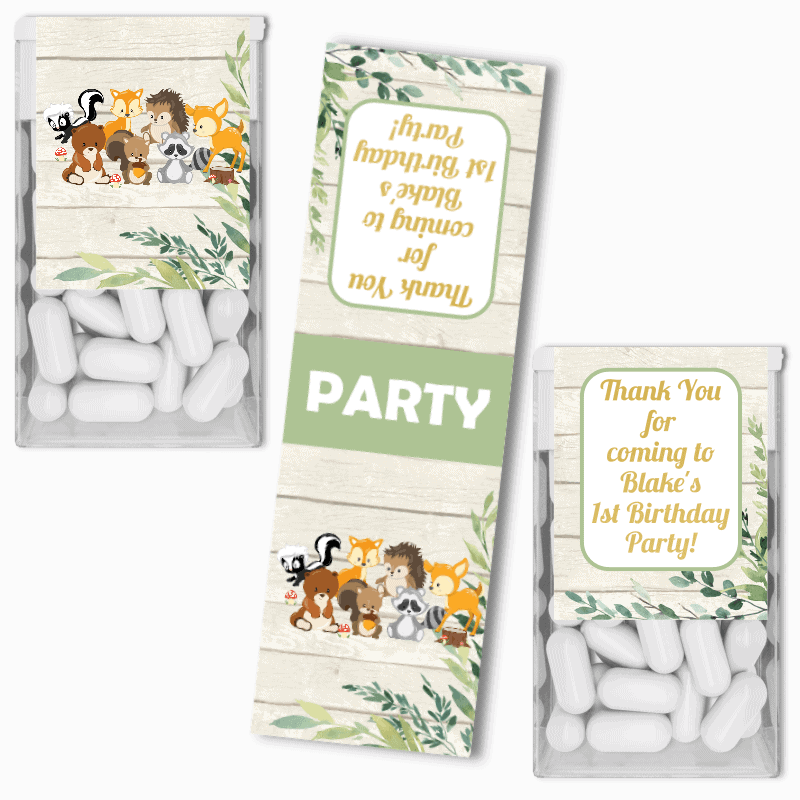 Personalised Woodland Animals Birthday Party Tic Tac Labels
