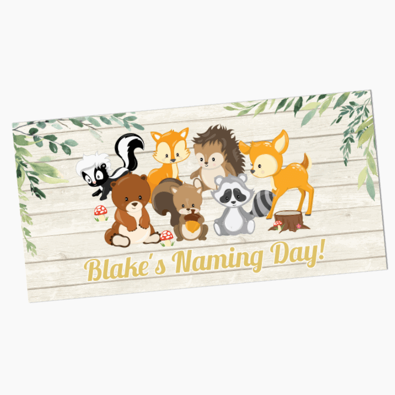 Personalised Woodland Animals Naming Day Banner