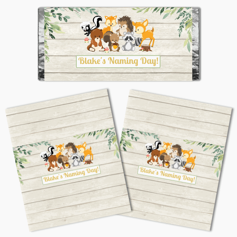 Personalised Woodland Animals Naming Day Chocolate Labels