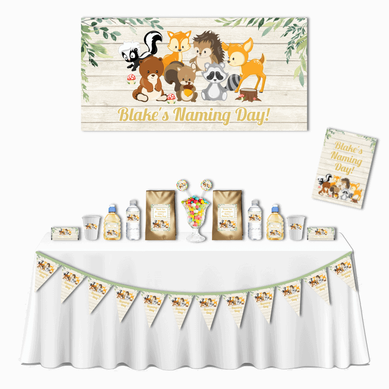 Personalised Woodland Animals Deluxe Naming Day Pack