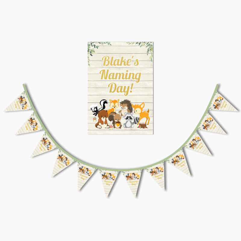 Personalised Woodland Animals Naming Day Poster and Bunting