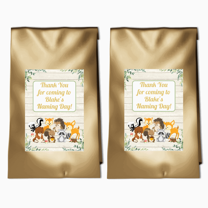 Personalised Woodland Animals Naming Day Party Bags