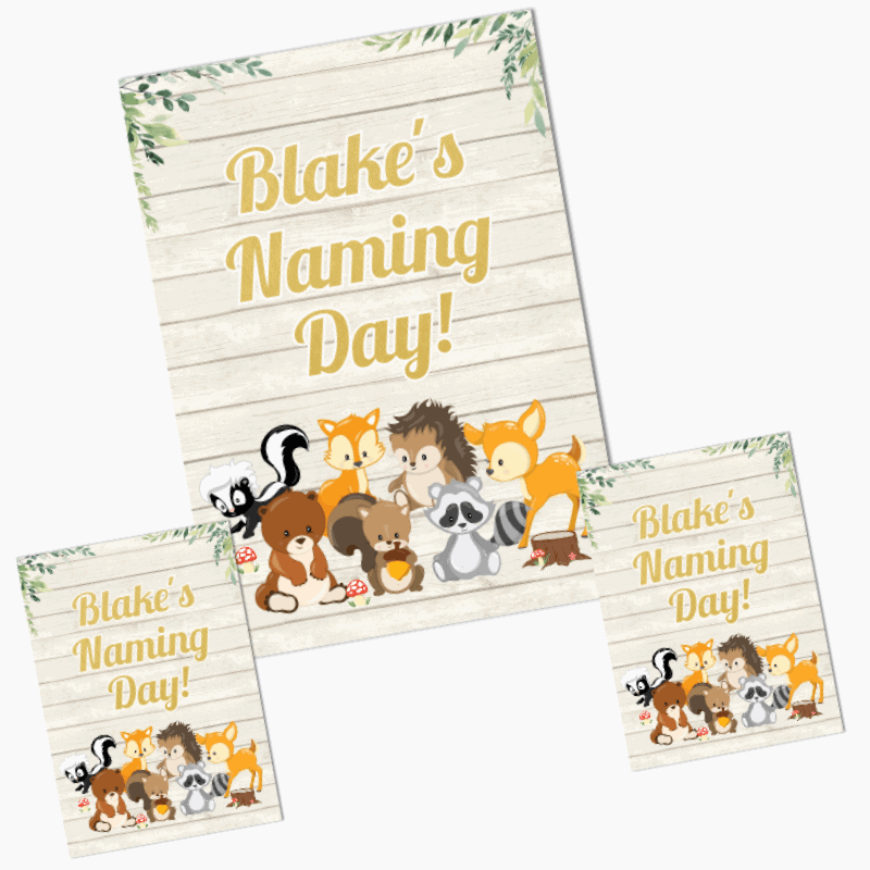 Personalised Woodland Animals Naming Day Posters