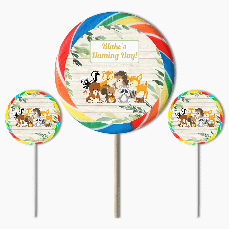Personalised Woodland Animals Naming Day Lollipops