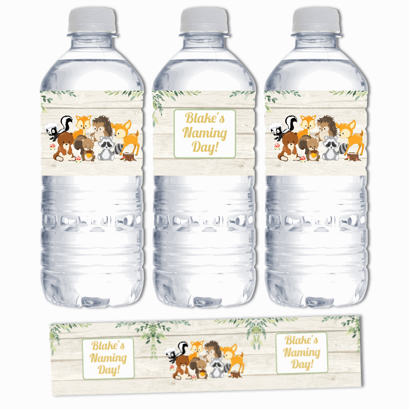 Personalised Woodland Animals Naming Day Water Labels