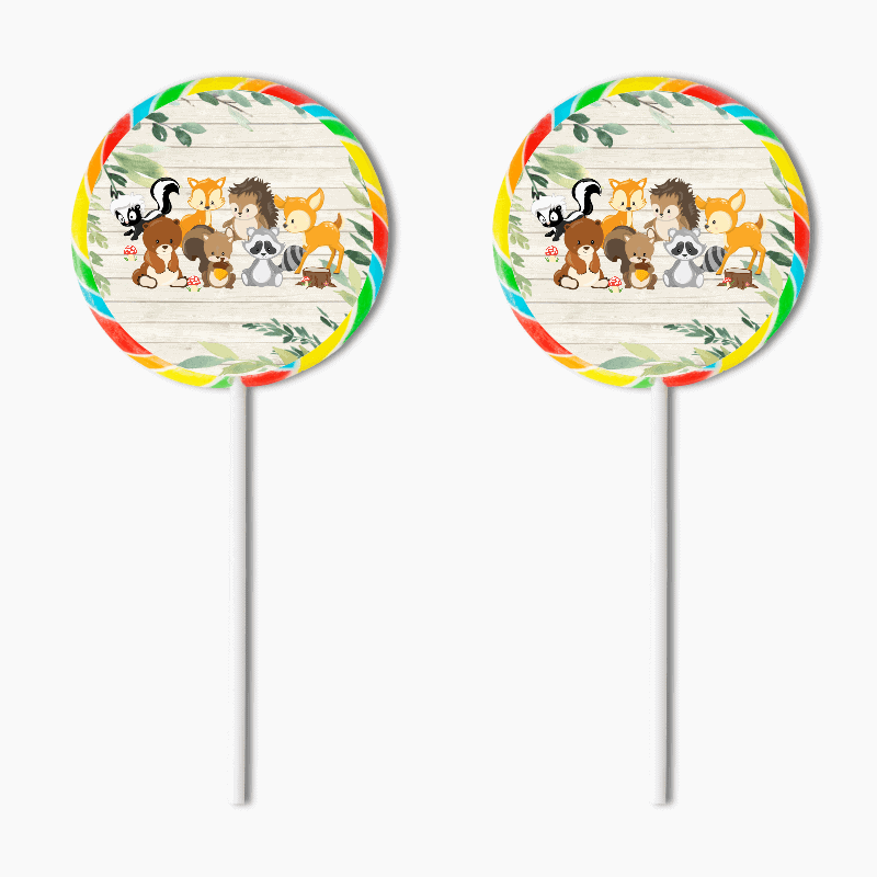 Personalised Woodland Animals Naming Day Lollipop Stickers