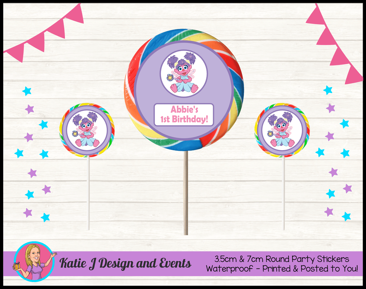 Abby Cadabby Personalised Birthday Party Round Lollipop Stickers Favours