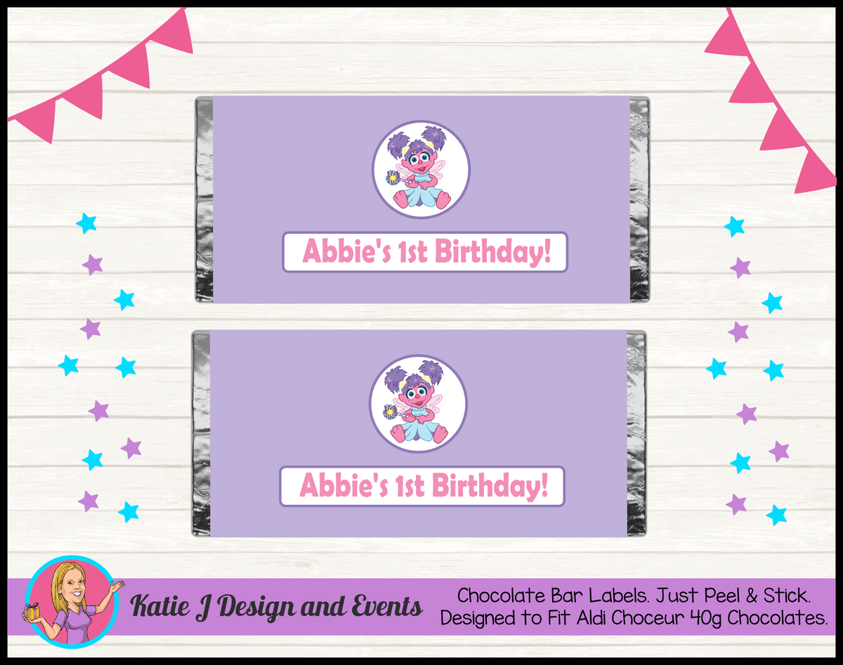 Abby Cadabby Personalised Birthday Party Chocolate Wrappers FavoursLabels